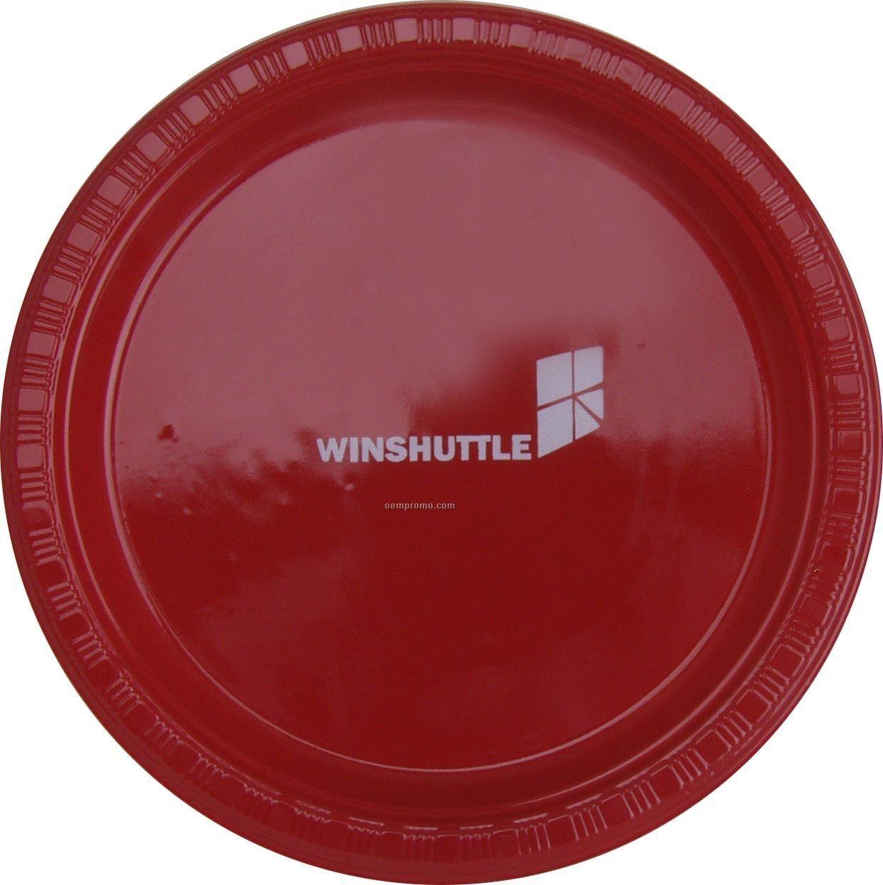 "Colorware 7"" Classic Red Plastic Plate"