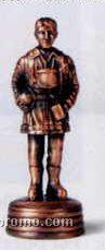 Early American Bronze Metal Pencil Sharpener - Standing Fireman