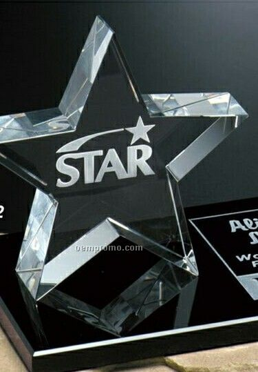 """Star Gallery Crystal Tapered Star Award On Rectangle Base (4"""")"""