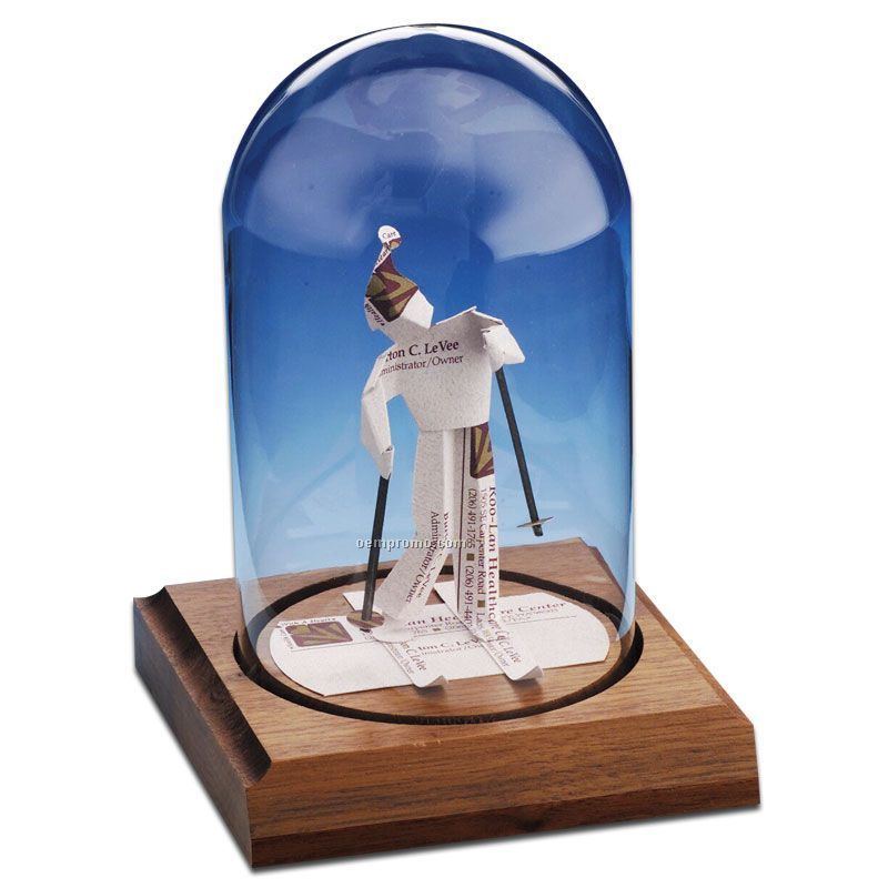 Glass Dome Business Card Sculpture - Skier