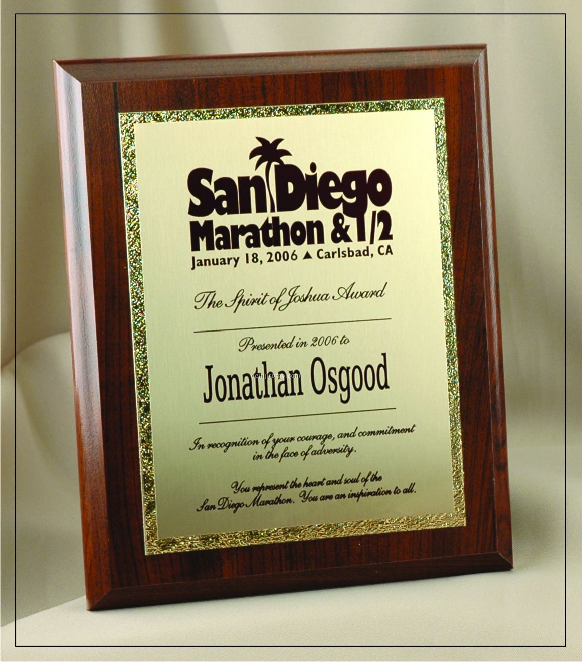 """Deluxe Traditional Rectangle Plaque W/ Gold Tone Plate (6""""X8"""")"""