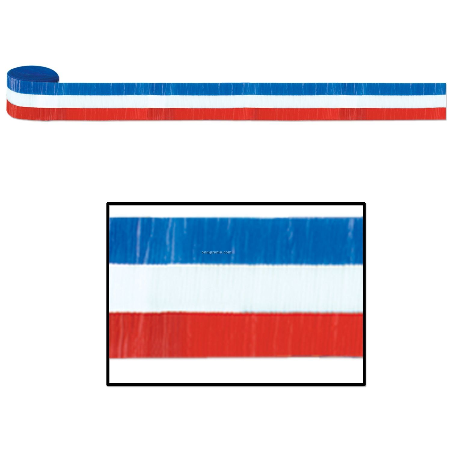 Flame Resistant Patriotic Striped Crepe Streamers