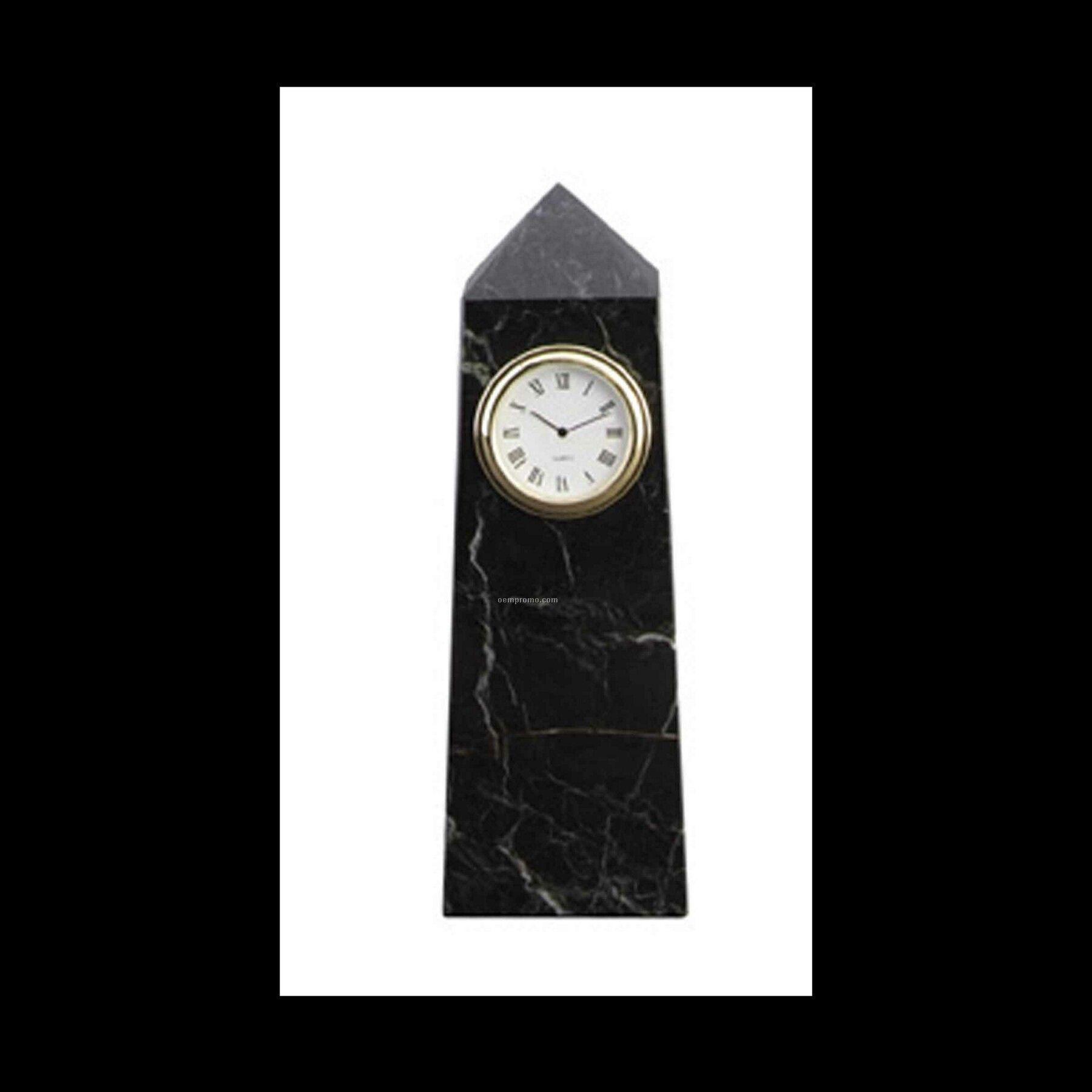 """6"""" Black Zebra Marble Obelisk Clock"""