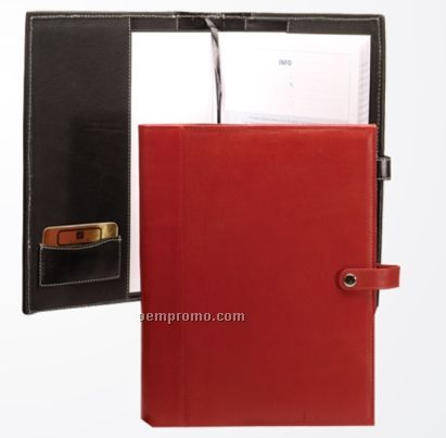 "Black Leatherette Journal Cover W/ Button Closure & 8.5""X11"" Note Pad"