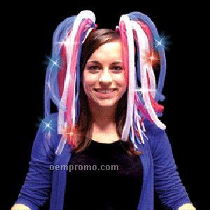 Light Up Hair - Dreads - LED Hairband - Red, White & Blue