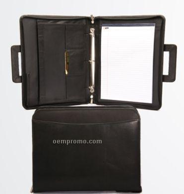 Medium Brown Zippered Leatherette 3-ring Binder W/ Handles