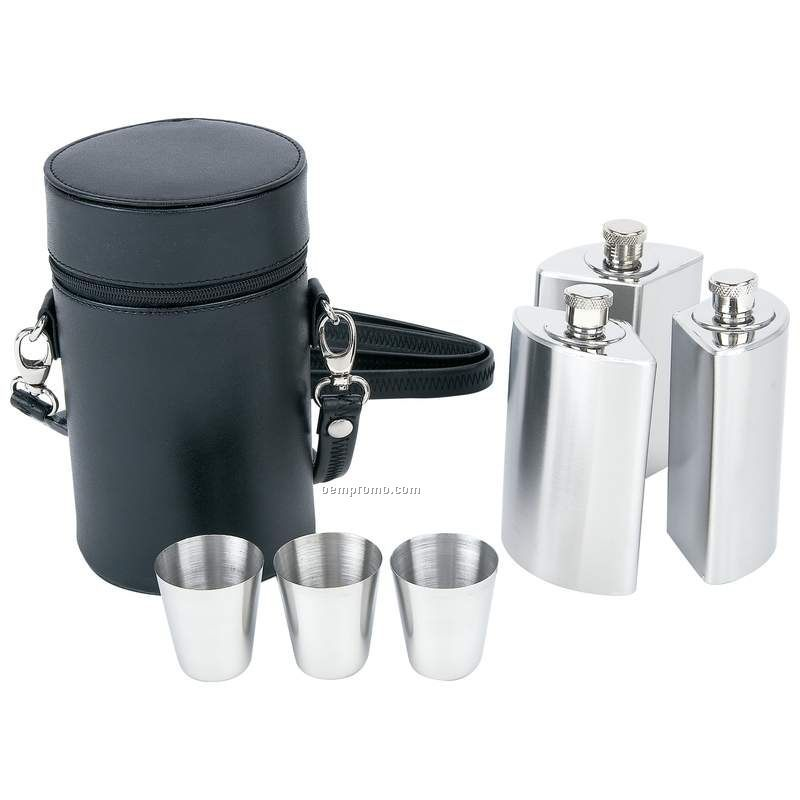 7 Piece Stainless Steel Flask