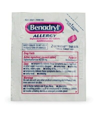 Benadryl Allergy Tablet Packet