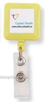 Retractable Square Badge Holder Reel W/ Strap (Label Decoration)