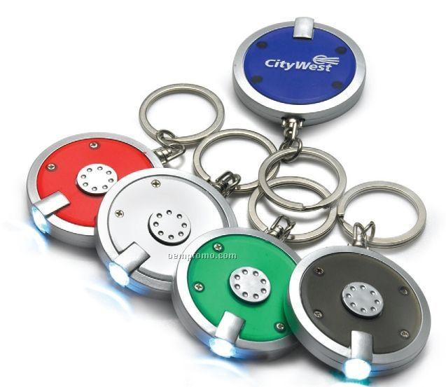 Round Push Button Flashlight/Keychain Combo