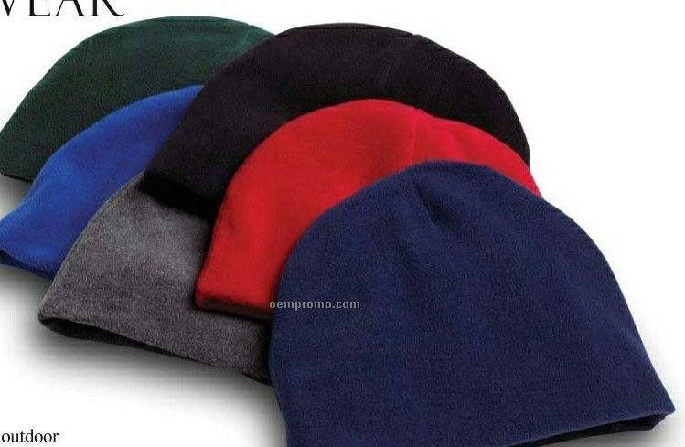 Wolfmark Navy Blue Fleece Beanie Cap - One Size Fits Most