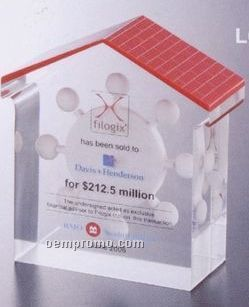 House Shape Custom Lucite Award W/ Red Roof