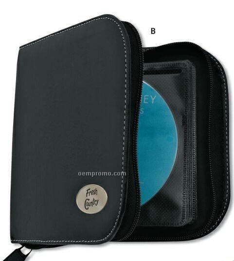 Insignia Series Black Leatherette 24 CD Holder W/ Oval Medallion Imprint