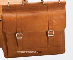 Medium Brown Top Flap Laptop Briefcase W/ Organizer