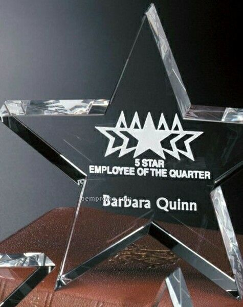 """Star Gallery Crystal Tapered Star Award On Rectangle Base (6"""")"""