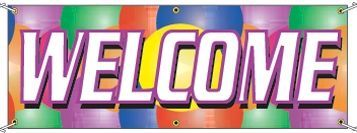 8'x3' Stock Balloon Banners - Welcome