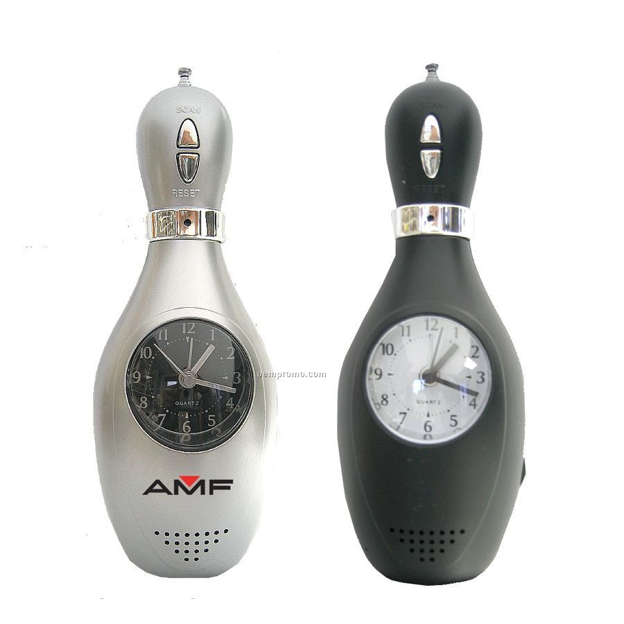 Bowling Pin Shaped Clock With Radio