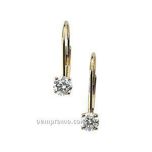Ladies' 14ku 1/2 Ct Tw Diamond Round Lever Back Earring