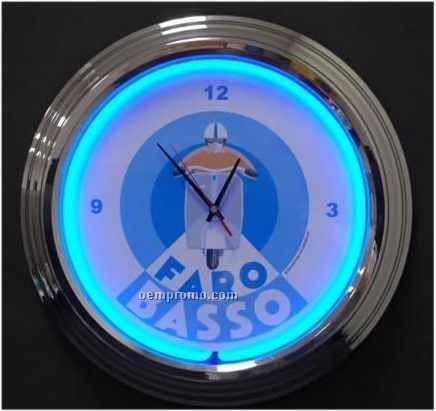 """17"""" Blue Neon Clock"""