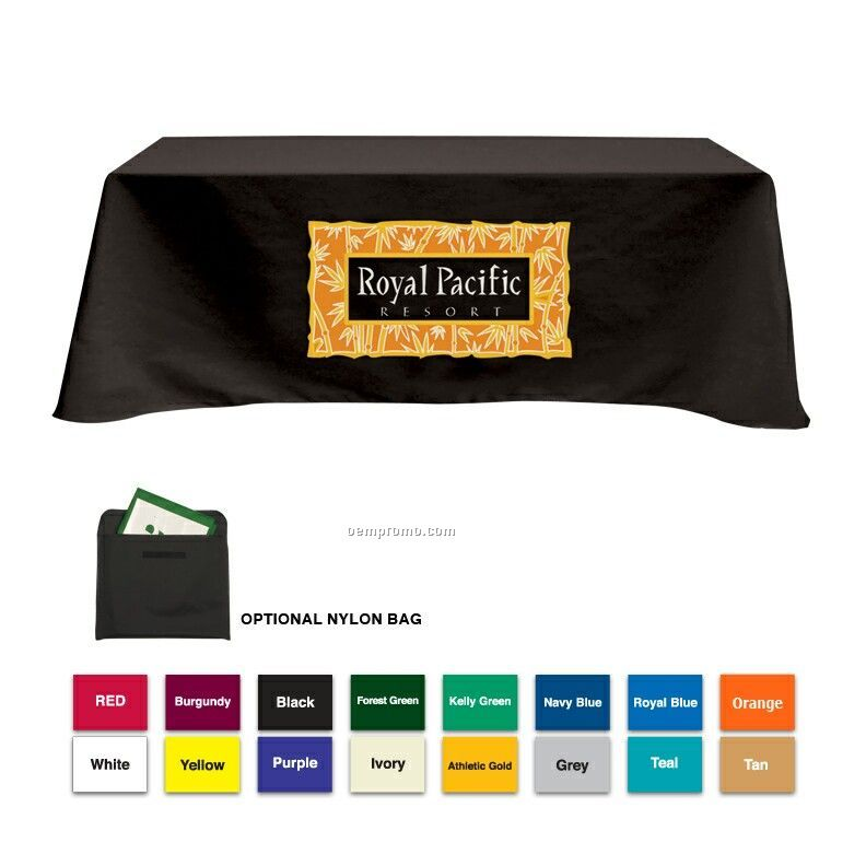 8' Poly/Cotton Table Cloth W/ 3 Side Coverage (Imprinted)