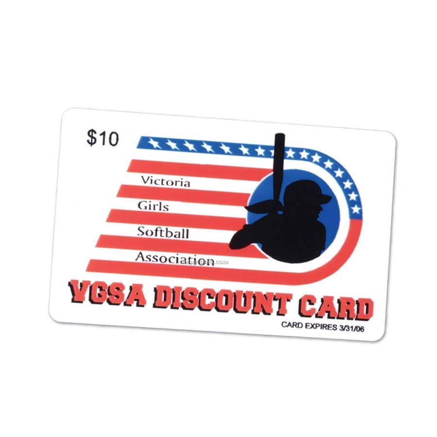 "Discount Card - 4-color Process/ 1 Side/ 1 Color On Back (3 3/8""X2 1/8"")"