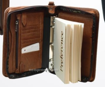 Medium Brown Medium Agenda Organizer W/ 3 Ring And Outside Zipper