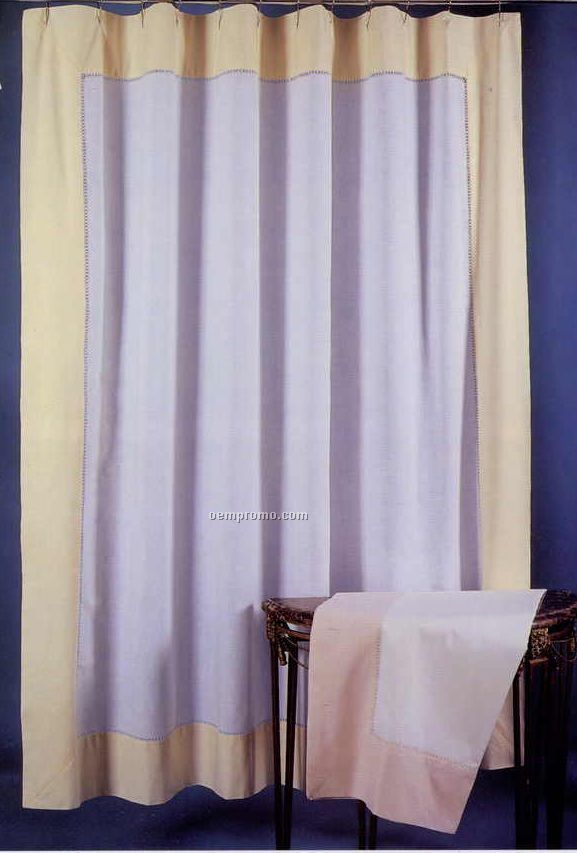 "72""X72"" White Linen Handmade Shower Curtain With Color Border"