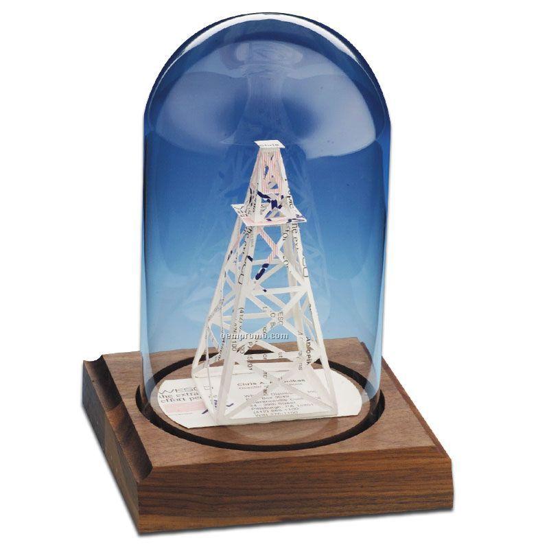 Glass Dome Business Card Sculpture - Oil Derrick