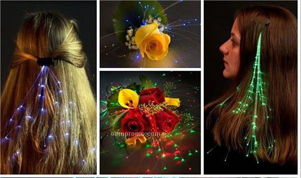 Light Up Fiber Optic Hair Clip - Rainbow