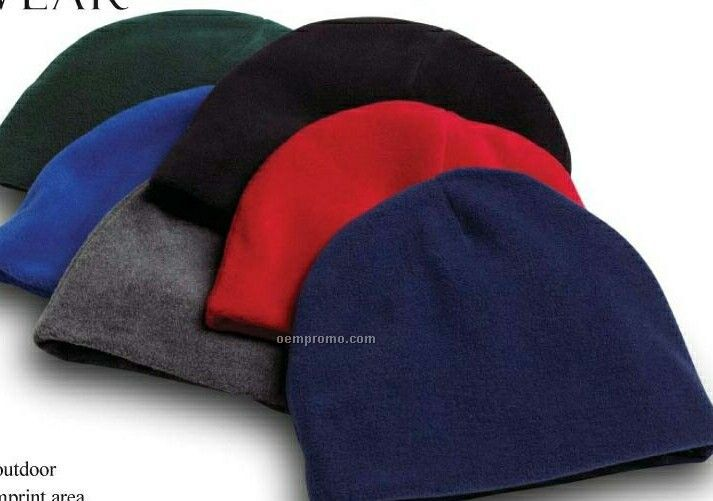 Wolfmark Purple Fleece Beanie Cap - One Size Fits Most