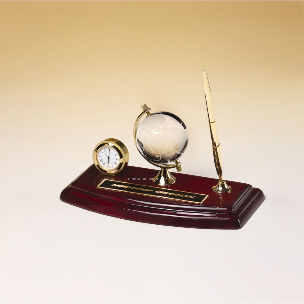 Rosewood Desk Set With Pen, Crystal Globe And Clock; 8.625