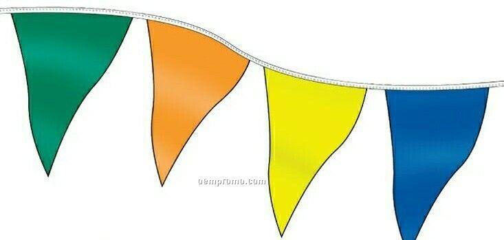 120' Stock Poly Pennants W/ 60 Per String - Black/Orange