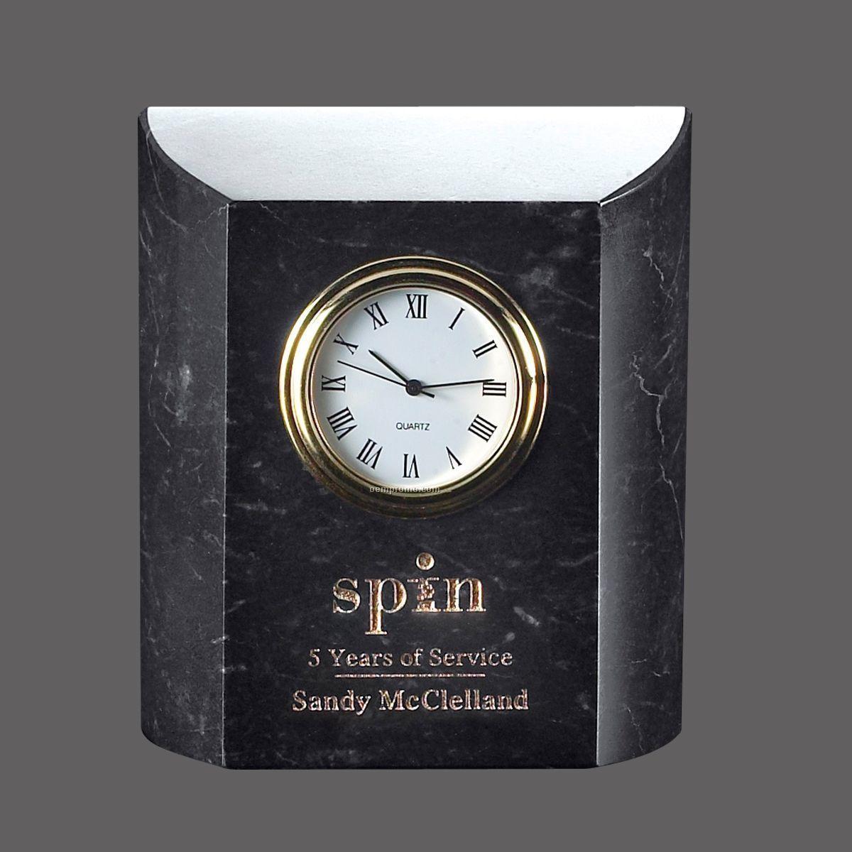 "3-1/2"" Black Marble Miniature Desk Clock"