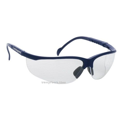 Wrap Around Safety Glasses (Clear Lens & Blue Frames)