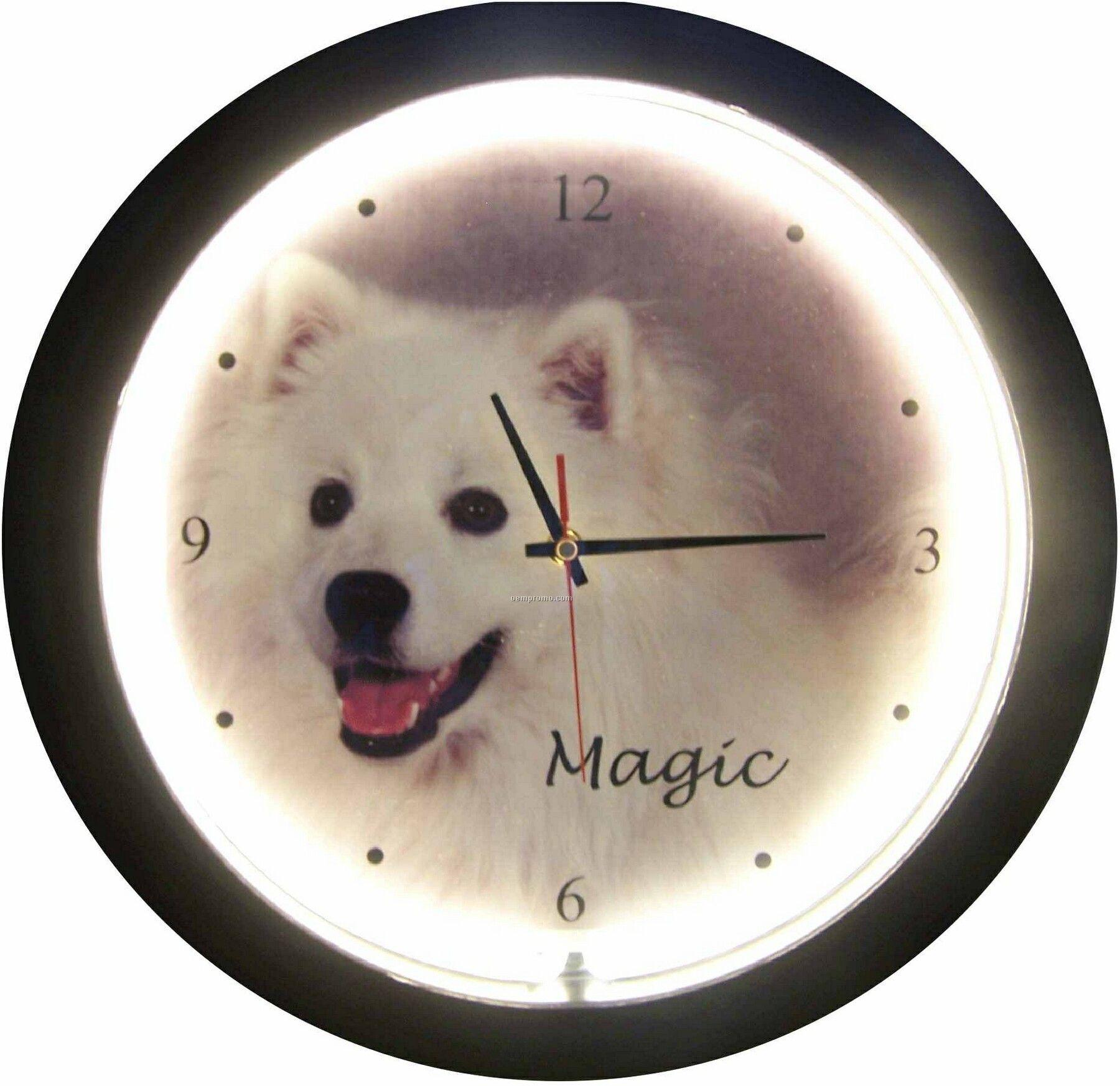 "17"" White Neon Clock"