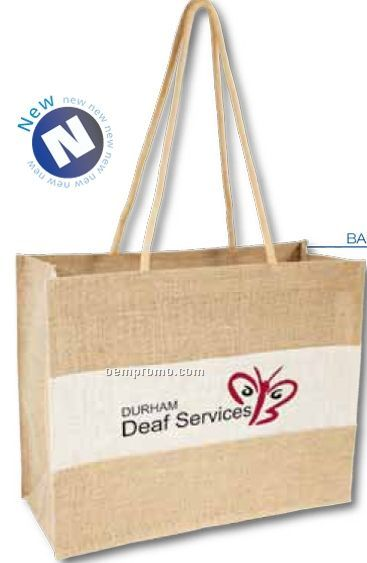 White & Natural Jute Shopper Bag W/ Long Handles (Blank)