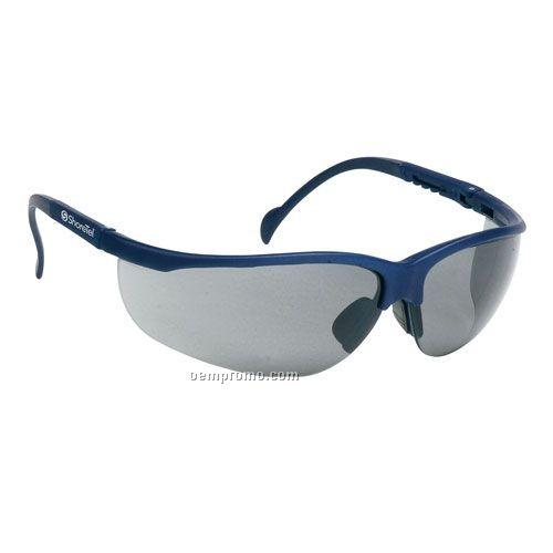 Wrap Around Safety Glasses (Gray Lens & Blue Frames)
