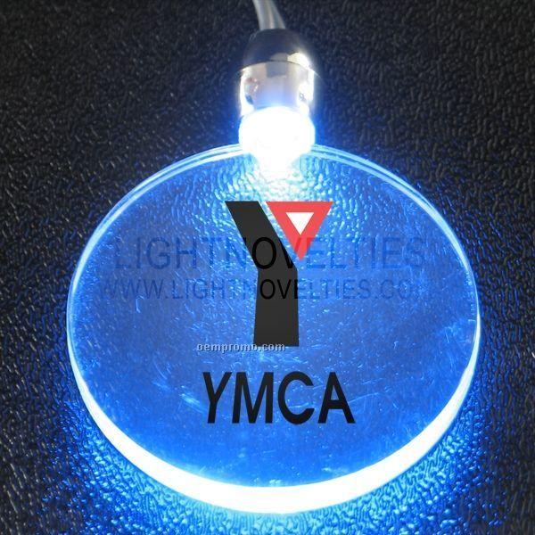 Light Up Necklace W/ Blinking Blue Acrylic Round Pendant