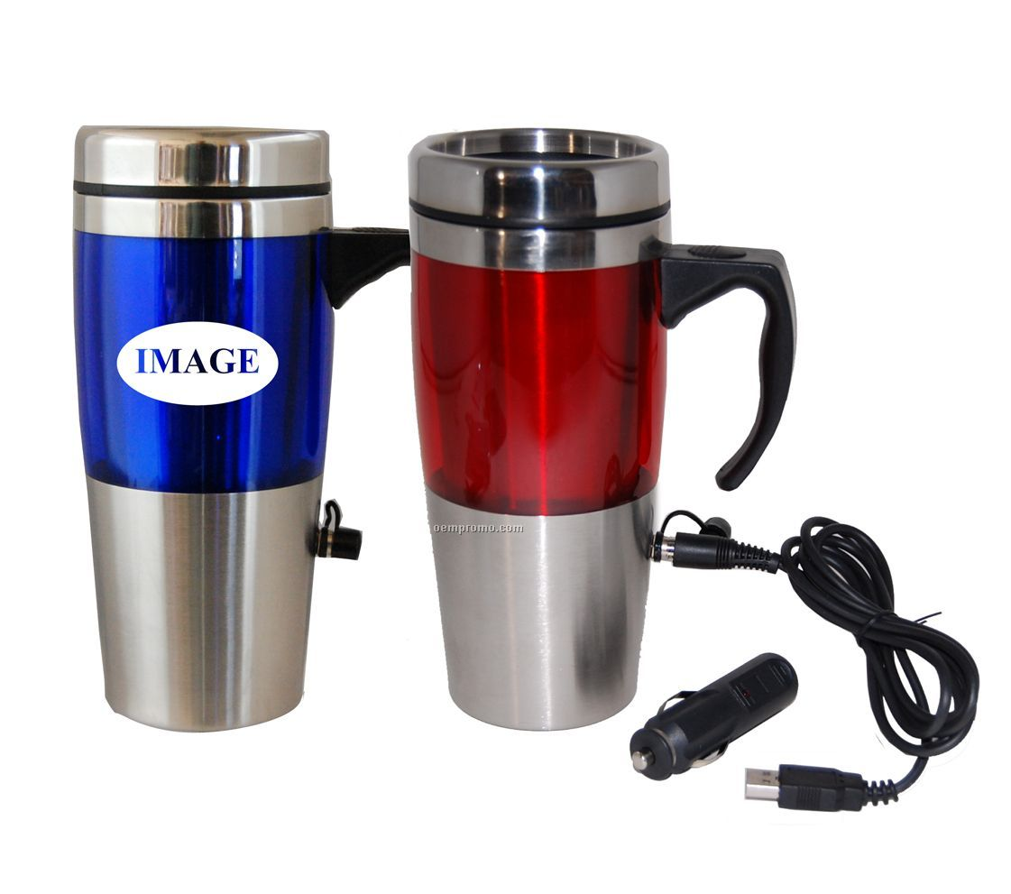16 Oz Dual Auto / USB Heated Travel Mug