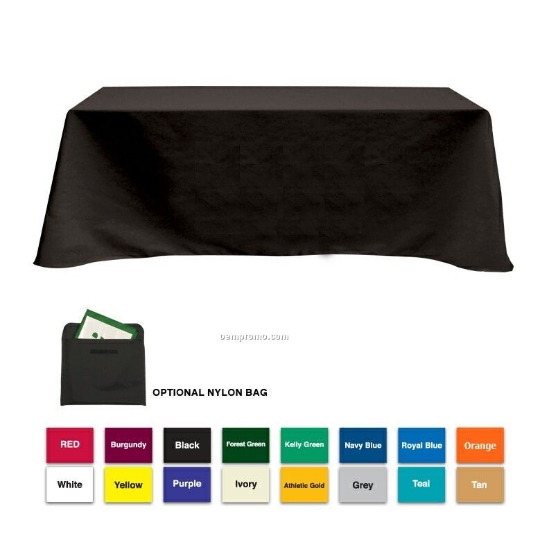 8' Poly/Cotton Table Cloth W/4 Side Coverage (Blank)