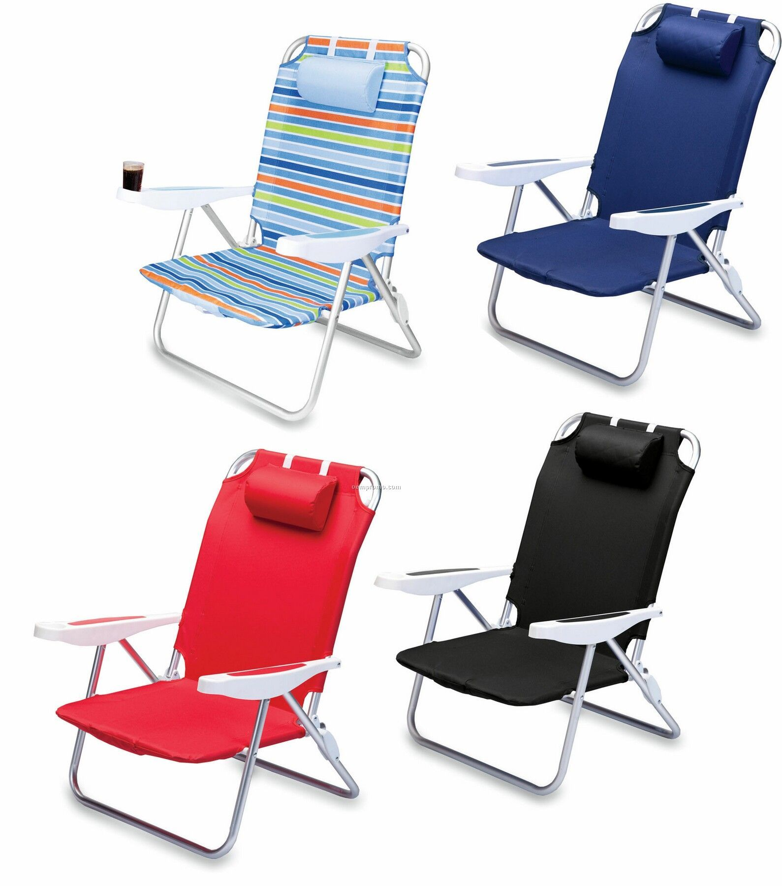 Monaco Beach Chair W/ 6 Reclining Positions & Backpack Straps