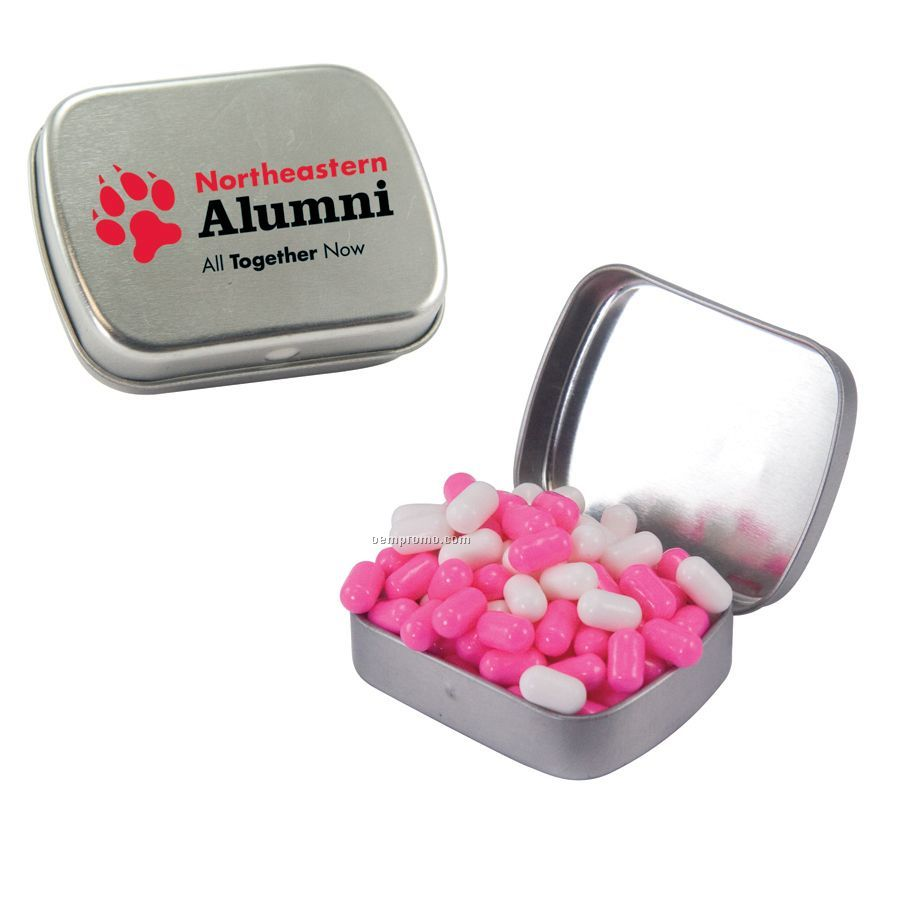 Small Silver Mint Tin Filled With Colored Bullet Candy