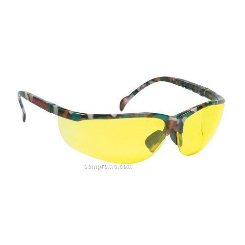 Wrap Around Safety Glasses (Amber Lens & Camo Frames)