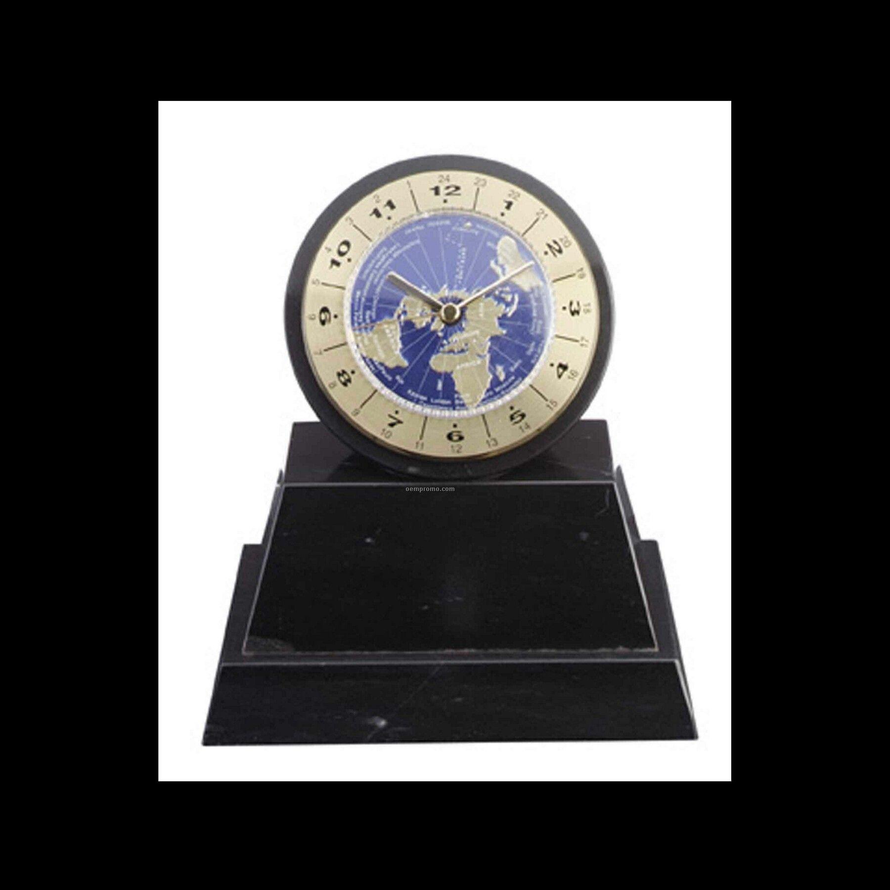 """6-3/4"""" World Clock On Black Marble Base"""