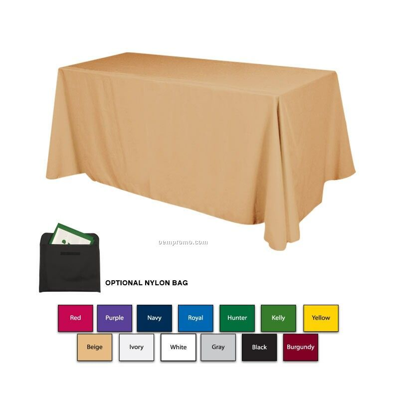6' Polyester Table Cover W/3 Side Coverage (Blank)