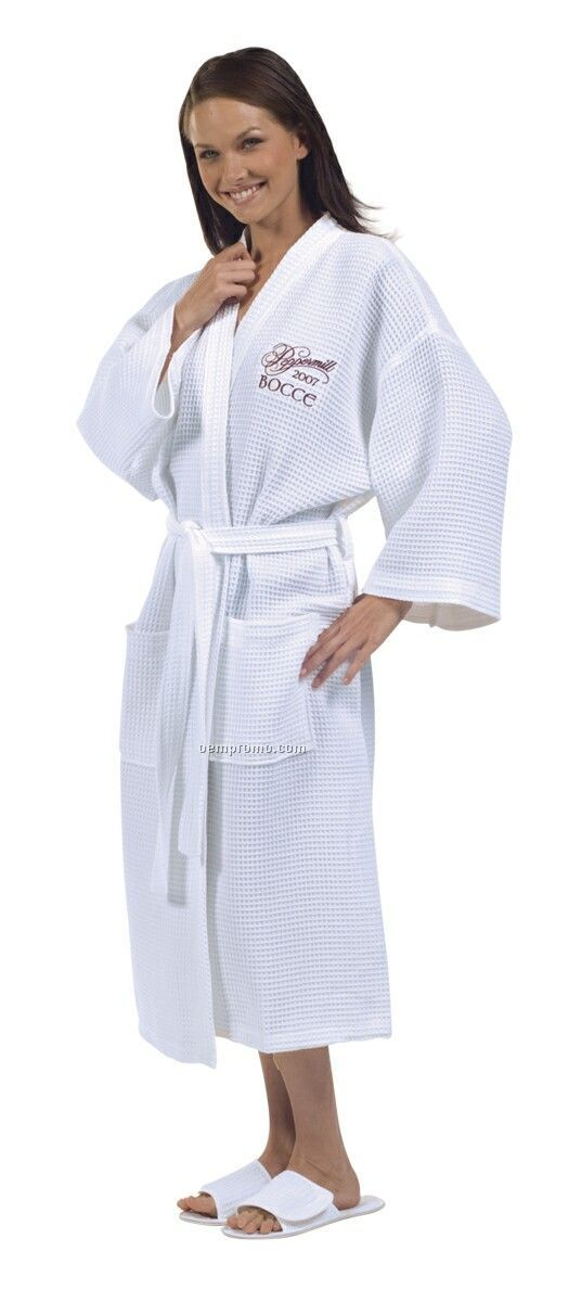 Cotton Waffle Weave White Kimono Robe