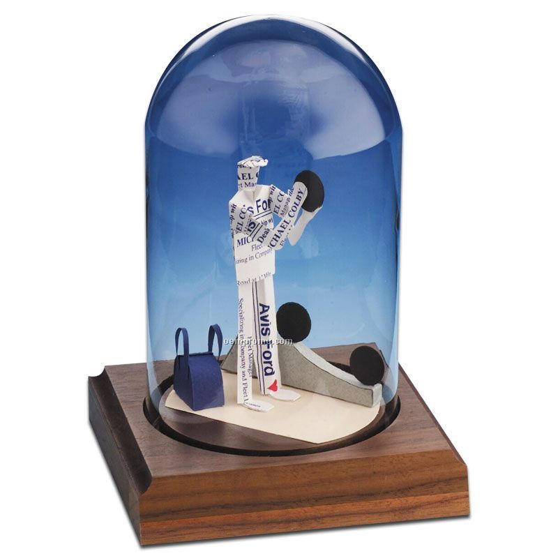 Glass Dome Business Card Sculpture - Bowler