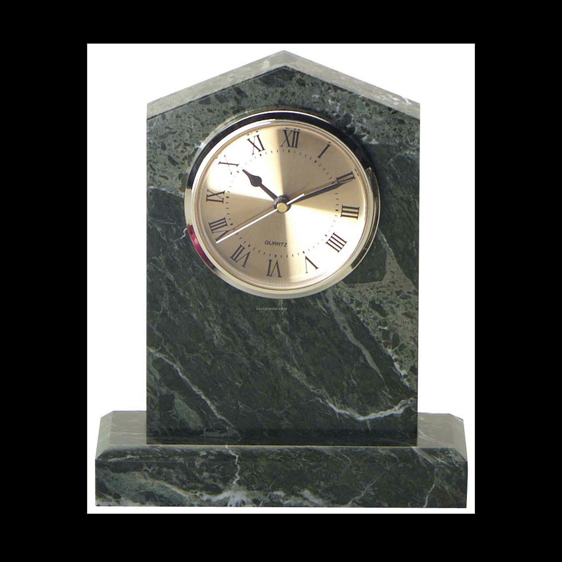 "6-3/4"" Jade Green Marble Cathedral Clock"