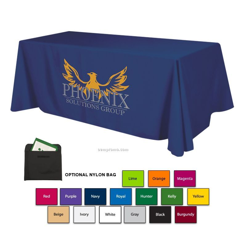 8' Polyester Table Cloth W/3 Side Coverage (Imprinted)