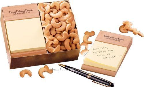 Beech Post-it Note Holder W/ Extra Fancy Jumbo Cashews